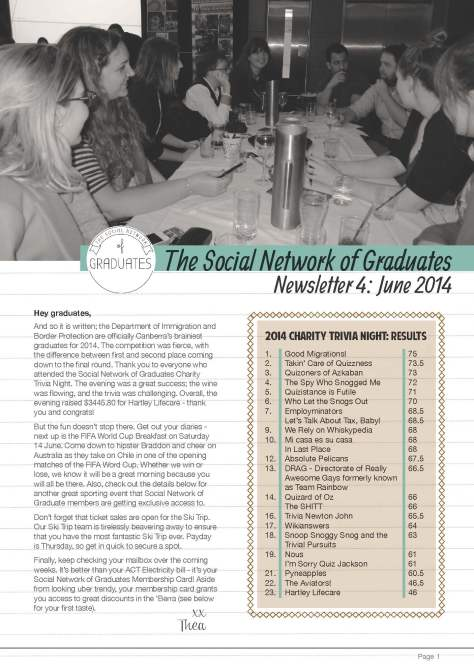 Newsletter 4 - Social Network of Graduates Page 1