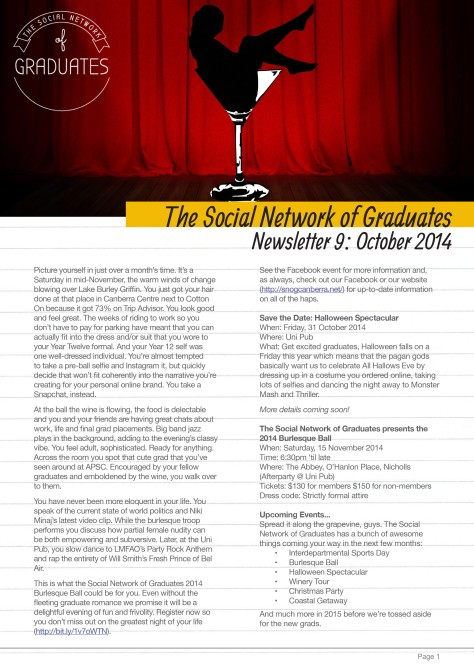 Newsletter 9 - Social Network of Graduates 2014 to 2015